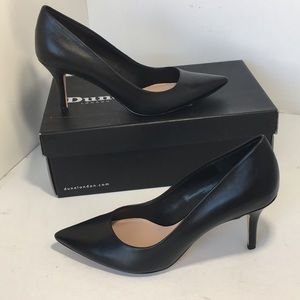 Dune London Black Leather Pointed Toe  Pumps